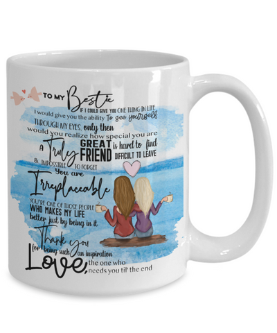 "Image of Mug for My Best Friend - ""To My Bestie"" Long Hair 15oz  white coffee mug"