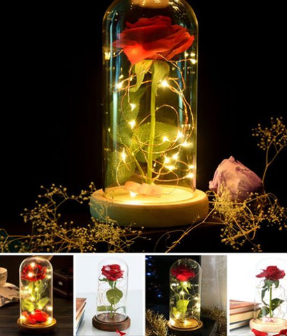 Enchanted Rose Glass LED Lighted Home Decor Gift - Bee Bee Shopping USA