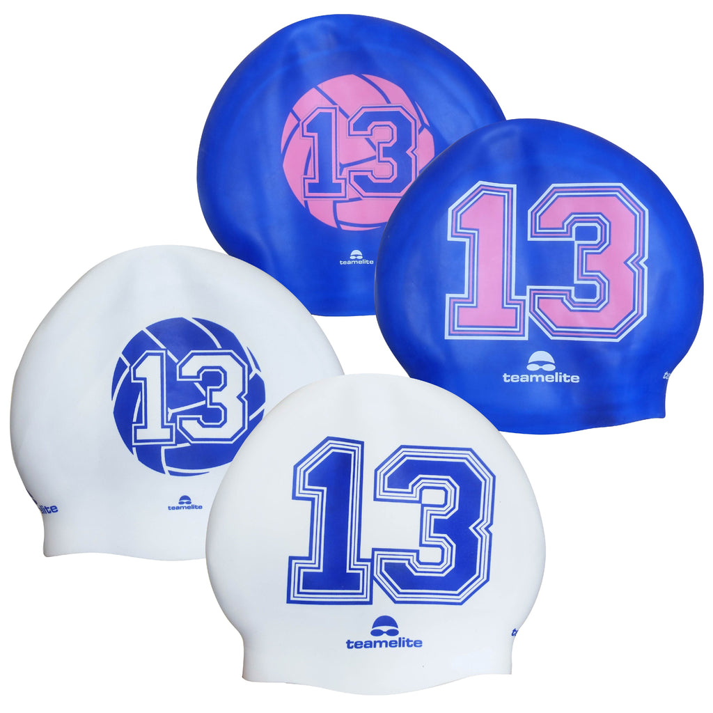 Team Elite Reversible Water Polo Silicone Swim Cap - Number 13