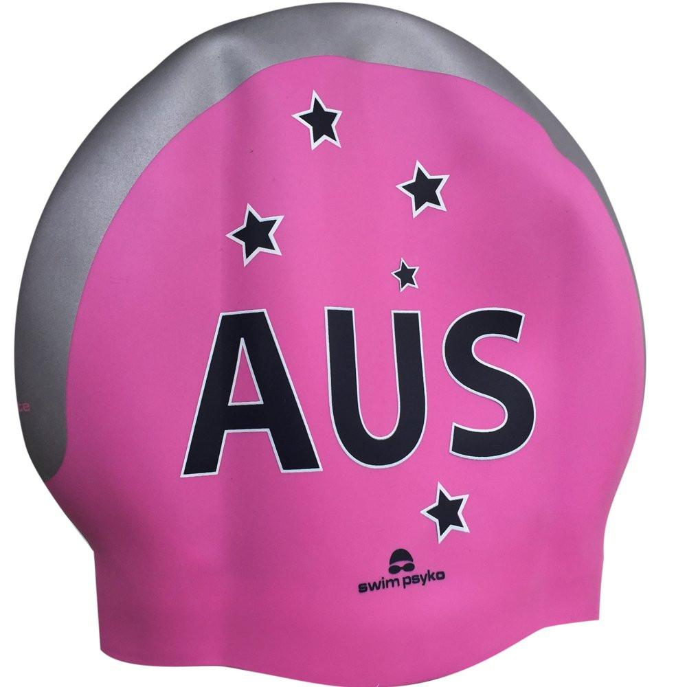 Team Elite AUS Pink Southern Cross Seamless Silicone Swim Cap
