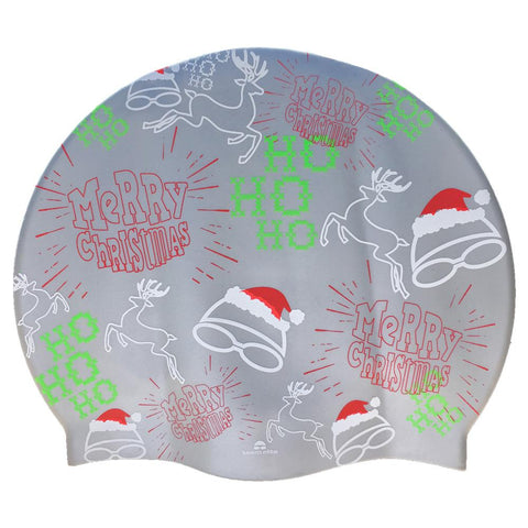 Team Elite Merry Christmas Silver Seamless Silicone Swimming Cap
