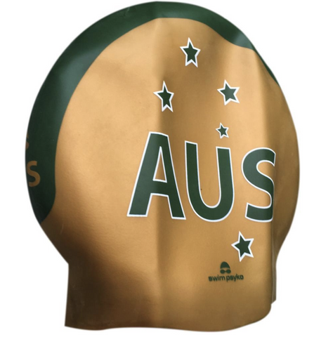 Team Elite AUS Green & Metallic Gold Seamless Silicone Swim Cap
