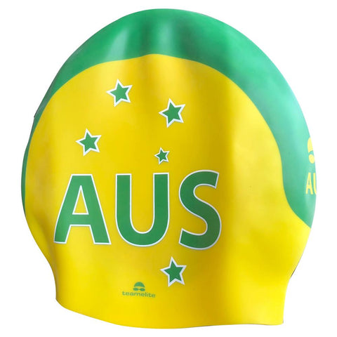 Team Elite Australian AUS Green & Gold Seamless Silicone Swim Cap