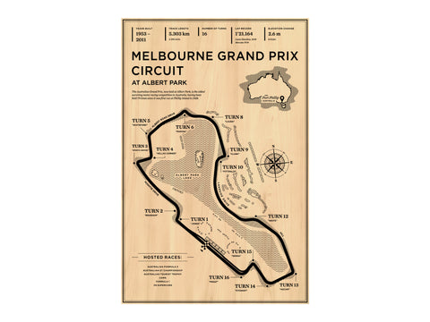 Melbourne Grand Prix Circuit Wood Mural