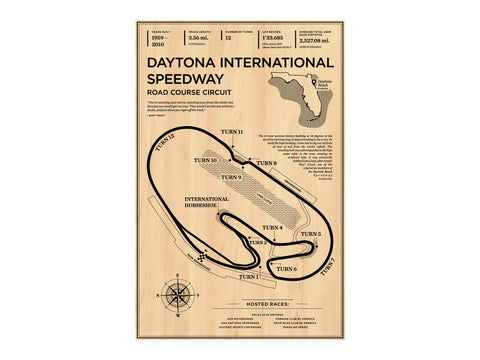 Daytona Road Course Wood Mural