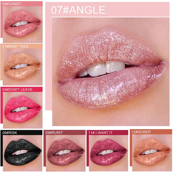 Qibest 12Color Shimmer Glitter Shine Long Lasting  Lip Gloss