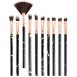 10Pcs/Set Makeup Brushes Professional Marbling Handle Powder Foundation Brush