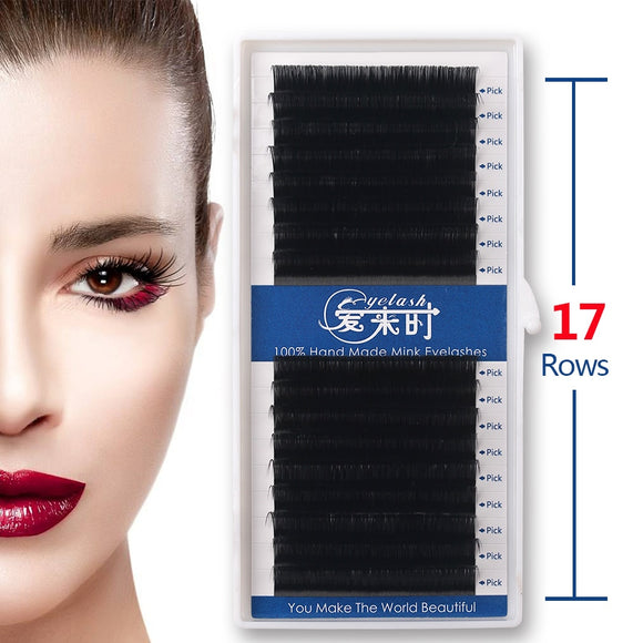 16 Rows All Size 0.03-0.25mm Individual Mink Eyelashes Extension
