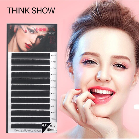 THINK SHOW Eyelashes Extension 12Lines/Tray B C D Curl 8-15mm