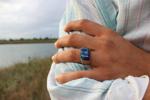 Blue Green Azurite Malachite Sterling Ring