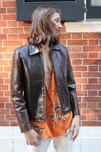 Chocolate Leather Crop Jacket
