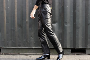 Onyx Leather Boot Flare Pant