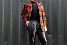 Load image into Gallery viewer, Red, Black and Yellow Plaid Blazer