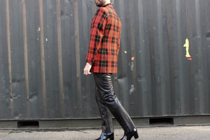 Red, Black and Yellow Plaid Blazer