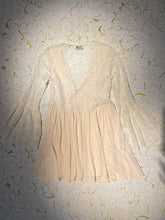 Load image into Gallery viewer, Handmade Lace Bellsleeve Mini Dress Size M