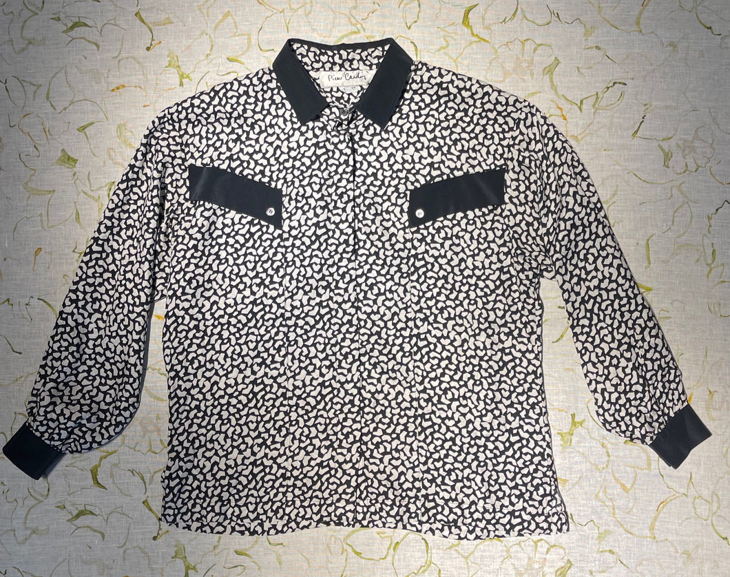 Pierre Cardin Black and White SIlk Blouse Size M