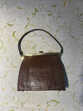 Load image into Gallery viewer, Chocolate Lizard Skin Mini Vintage Bag