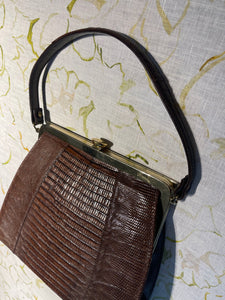 Chocolate Lizard Skin Mini Vintage Bag