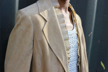 Load image into Gallery viewer, Camel Suede and Chiffon Bell Sleeve Blazer