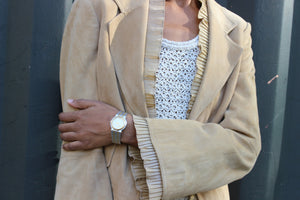 Camel Suede and Chiffon Bell Sleeve Blazer