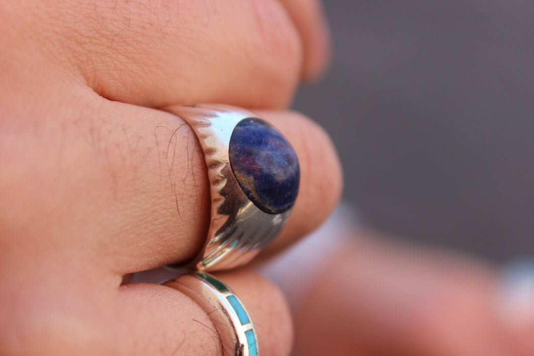 Round Matte Lapis Sterling Ring