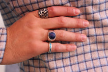 Load image into Gallery viewer, Round Matte Lapis Sterling Ring