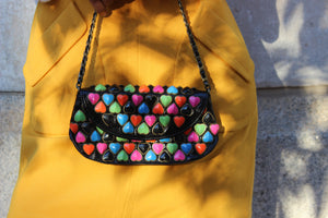 Vintage Betsey Johnson Leather Heart Clutch