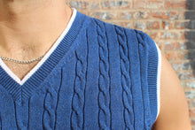 Load image into Gallery viewer, Azure Blue Cable Knit Vest