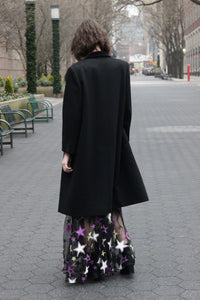 Velvet Lapel Jet Black Peacoat