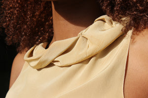 Gold Prada Silk Ruffle Blouse