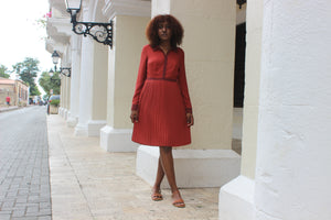 Ruby Red '50s Button Down Pleated Dress