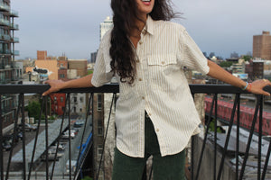 Neutral Gold Striped Cotton Shirt