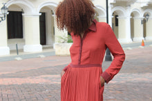 Load image into Gallery viewer, Ruby Red '50s Button Down Pleated Dress