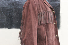 Load image into Gallery viewer, Chocolate Suede 70s Fringe Jacket