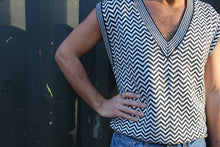 Load image into Gallery viewer, White and Black Woven V Vest