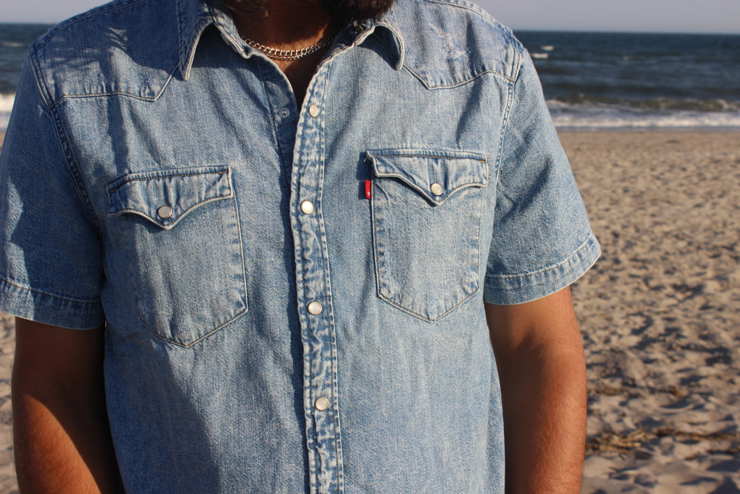 Levi's Acid Wash Denim Short Sleeve
