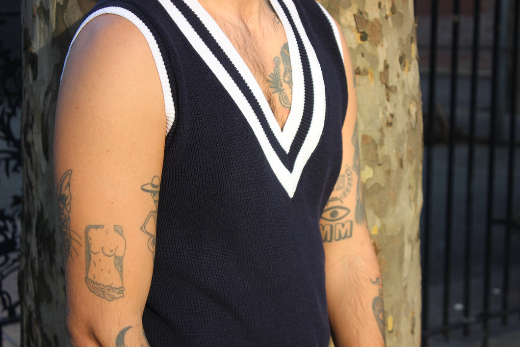 Deepest V Navy Nautical Vest
