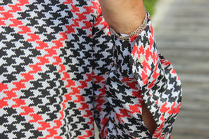 Red and Black 70s Houndstooth Shirt