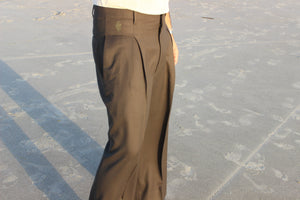 English Green Wide Leg Pleated Pant