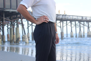 Dark Charcoal French Striped Trouser