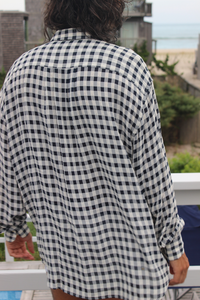 Nautical Light and Flowy Checkered Shirt