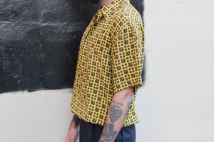 Vibrant Yellow Silk Tiger Short Sleeve