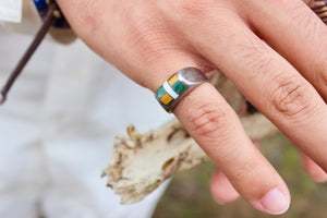 Geometric Triple Stone Mexican Silver Ring