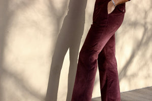 Burgundy Corduroy Boot Cut Pant