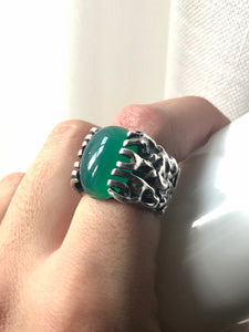 14 Prong Sterling Jade Oval Ring