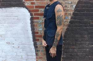 Navy Suede Vest Triple Silver Latch