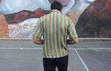 Load image into Gallery viewer, Olive Striped Short Sleeve Double Pocket