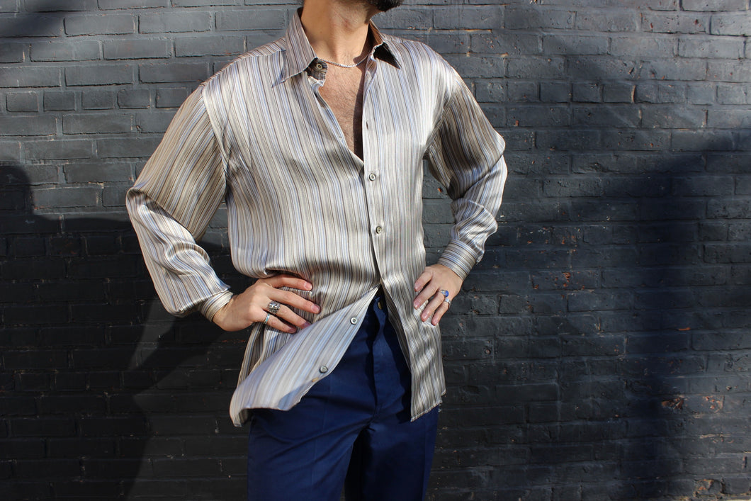 Liquid Silver Silk Striped Shirt