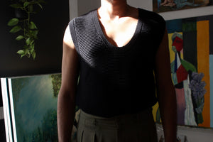 Black Knit Scoop Vest