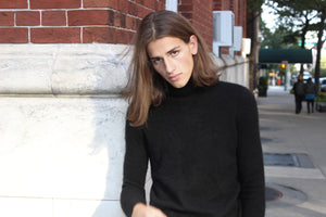 Jet Black Cashmere Turtleneck